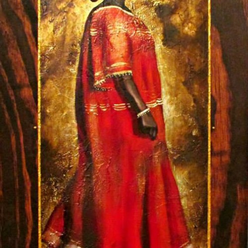 Title: Grand Matriarch Artist: Jerome T. White Medium: mixed media on wood Year: 2013 Size: 12x24