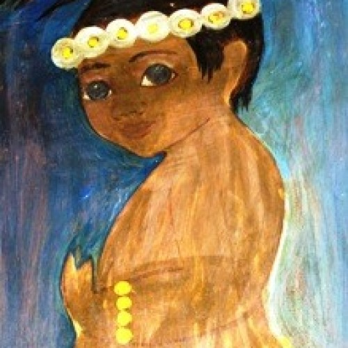 Thelma Johnson Streat :: Child In Grass Skirt :: 36 x 48 :: Oil