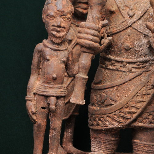 Nigerian chief with two sons and two servants (bronze) front left