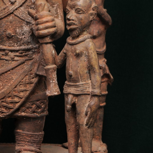 Nigerian chief with two sons and two servants (bronze) front right