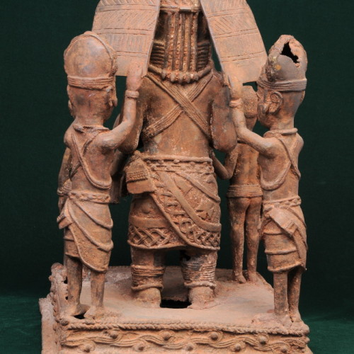 Nigerian chief with two sons and two servants (bronze) back full