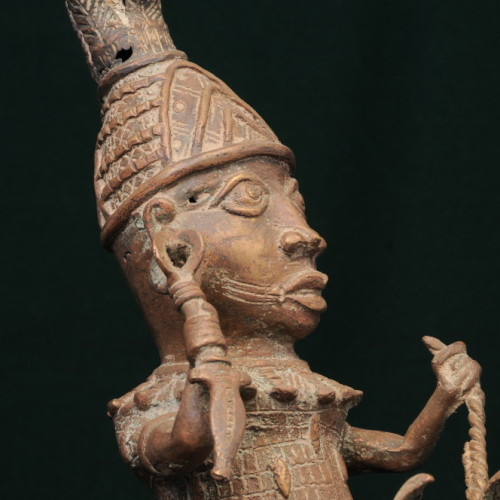 Yoruba Horseman, (bronze) left close-up