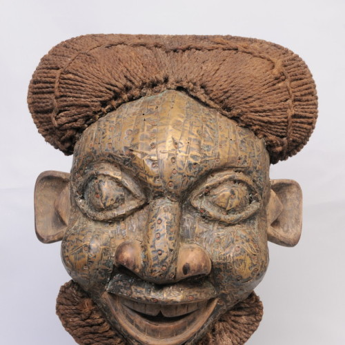 Bamun mask, Cameron, Pounded bronze over wood with iron nails