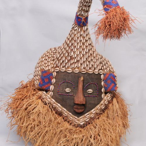 Kuba head dress, with cowry shells, Congo