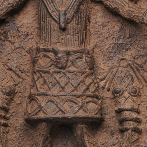 Benin Bronze plaque center close-up