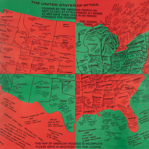 Ringgold United States Of Attica l 1972 l offset print on paper l 22 1/2x27 1/2 l 1972