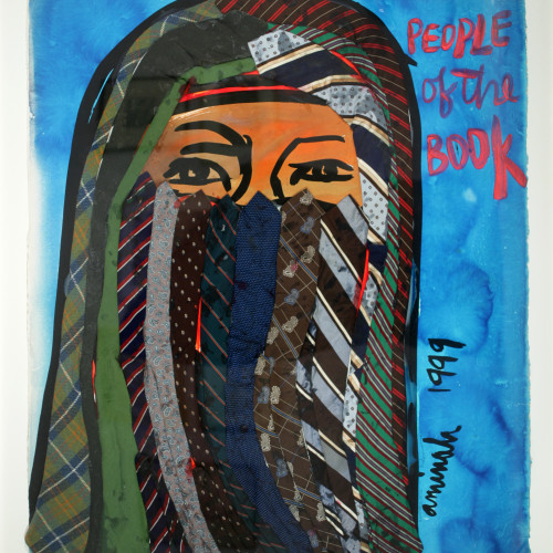 Robinson Bedouin Woman l Watercolor and gouache on heavy stock w/ fabric 43 1/4x32 1/2 1999