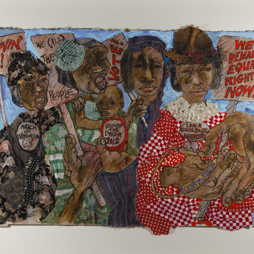 Robinson Chronicles from the Village Series- I Am a Civil Rights Worker Mixed media on paper l 15X22 l 2010-2012