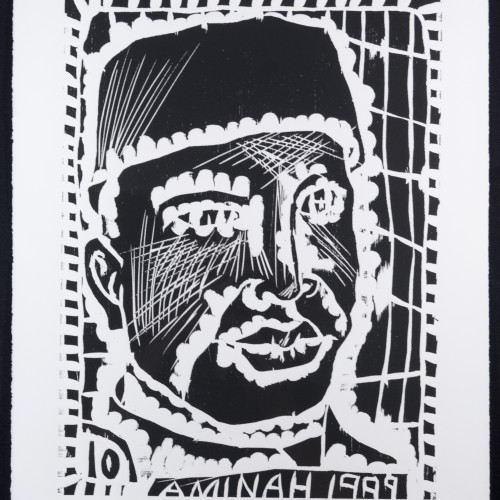Robinson People Of The Book 10  l  b/w woodblock l 20x17 l 1999