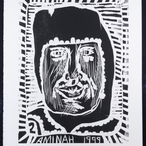 Robinson People Of The Book 2 l b/w woodblock l 20x17 l 1999