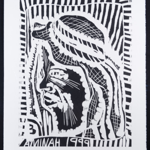 Robinson People Of The Book 3 l  b/w woodblock l 20x17 l 1999