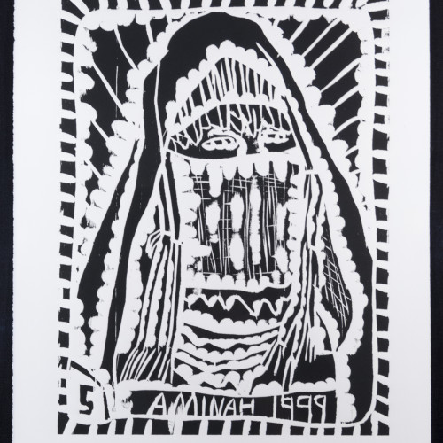 Robinson People Of The Book 5  l  b/w woodblock l 20x17 l 1999