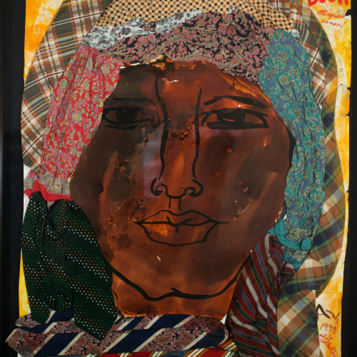Robinson People of the Book Ethiopian Woman Watercolor and gouache on heavy stock w/ fabric 43 1/4x32 1/2 1999