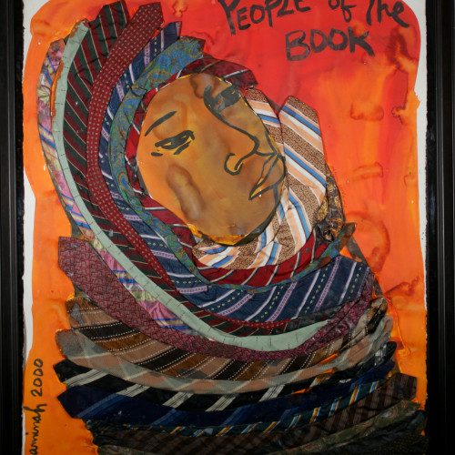 Robinson People of the Book- Jericho Girl  l Watercolor and gouache on heavy stock w/ fabric 43 1/4x32 1/2 1999