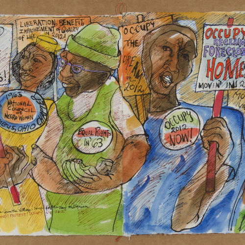 Robinson Stand Protest Occupy Mixed media on paper l 13X39 l 2010-2012